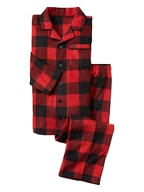 Plaid microfleece 2-piece sleep set