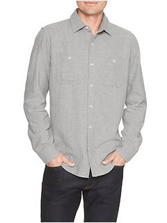 Print two-pocket flannel shirt