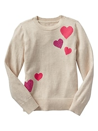 Embelllished heart intarsia sweater