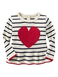 Heart intarsia peplum sweater