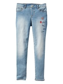 Stretch embroidered super skinny jeans