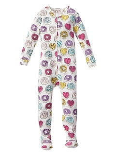 Donut Print Footed Zip Pajama One-Piece