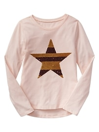 Sequin star long-sleeve tee