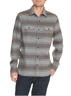 Print two-pocket twill shirt