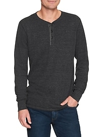 Thermal long-sleeve henley