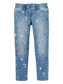 High Stretch Jeggings with Emoji Print