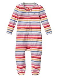 Crazy stripe footed zip one-piece