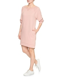 Long-sleeve French terry dress