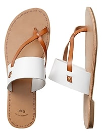 Strap Slide Sandals in Faux Leather