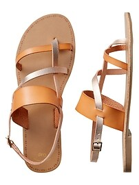 Cross-Strap Sandals in Metallic Faux Leather