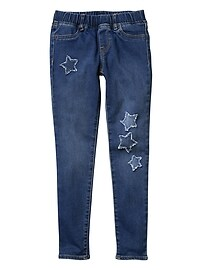 Stretch star patch pull-on jeggings
