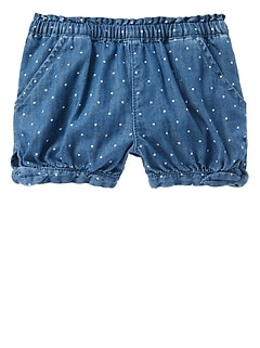Dot Denim Shorts