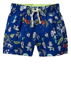 "2.5"" Jungle Print Swim Trunks"