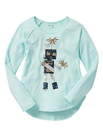 Embellished long-sleeve graphic tee