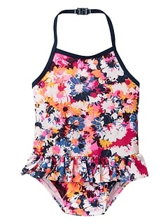 Print halter swim one-piece