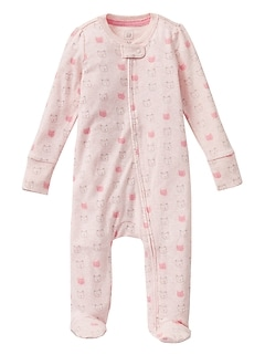 Baby Print Footed Zip One-Piece