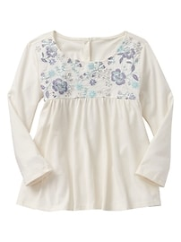 Shirred embroidered top
