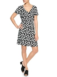 Keyhole Short-Sleeve Dress in Rayon
