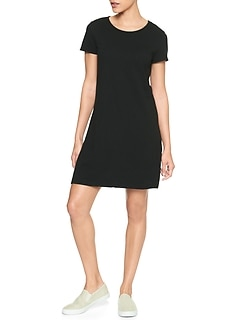 Twist-Back T-Shirt Dress in Slub