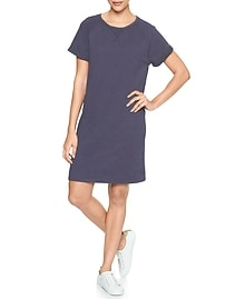 Short-Sleeve Roll-Up Dress in French Terry