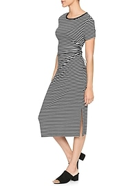 Short Sleeve Ruched Side Midi Dress