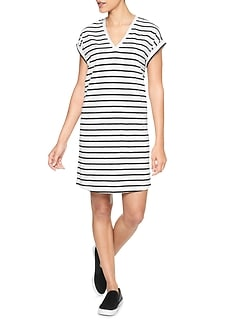 Roll Sleeve Slub T-shirt Dress