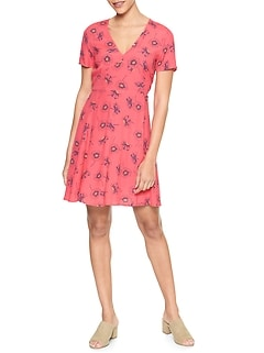 Print Short Sleeve Dress in Rayon