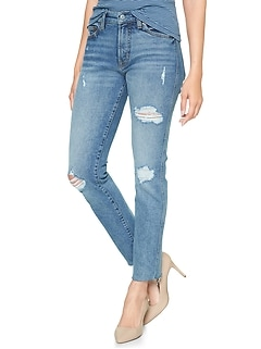 High Rise Destructed Slim Straight Jeans with Raw-Hem