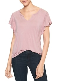 Split-neck flutter tee