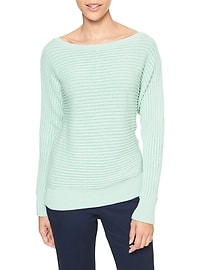 Textured Knit Dolman Sleeve Pullover Sweater