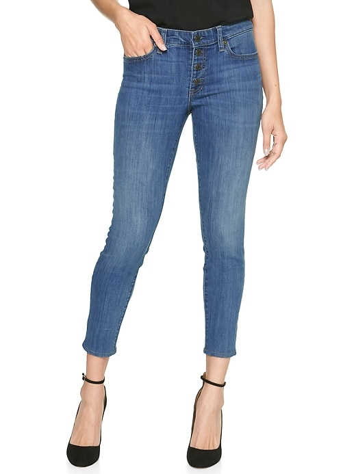 b75571aed945b Mid Rise Legging Skimmer Jeans with Button Fly | Gap Factory