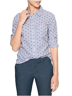 Stripe Swiss Dot Fitted Boyfriend Shirt in Poplin