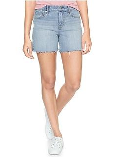 "Mid Rise 5"" Denim Shorts with Raw-Hem"