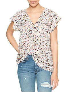 Print Split-Neck Flutter Top