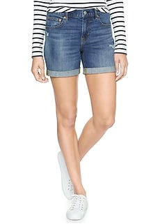 "Mid Rise 5"" Destructed Denim Shorts"