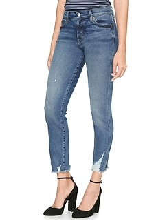 High Rise Slim Straight Jeans with Raw-Hem