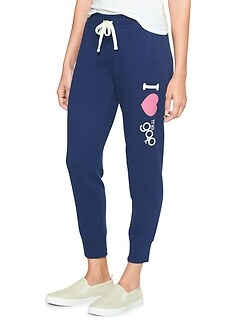 Cropped Heart Logo Joggers in French Terry