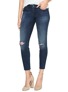 Mid Rise Destructed Jeggings Skimmer with Raw-Hem
