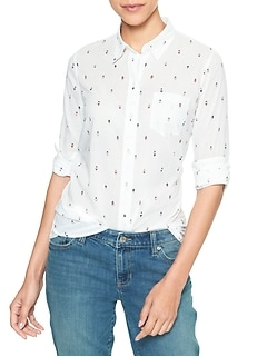 Print Fitted Boyfriend Shirt in Cotton