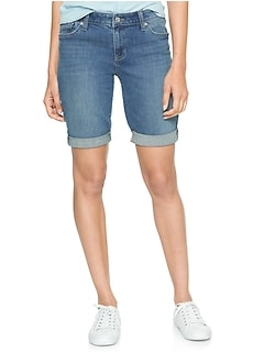 "Mid Rise 10"" Bermuda Denim Shorts"