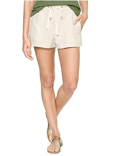 "3"" Pull-On Utility Shorts in Linen-Cotton"