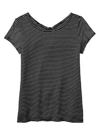 Stripe Twist-back tee in Jersey Knit