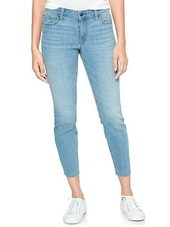 Mid Rise Jeggings Skimmer with Raw-Hem
