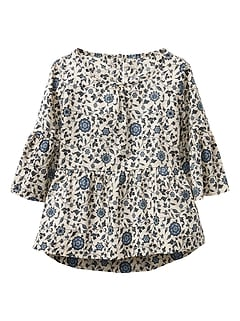 Print shirred top
