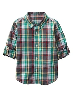 Plaid Convertible Shirt in Poplin