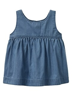 Shirred Chambray Tank Top