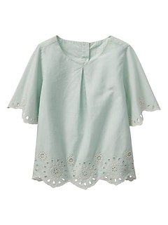 Pleated Eyelet Top