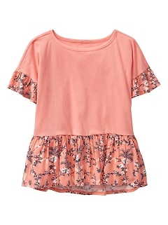 Mix-Media Peplum Top