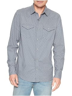 Print Two-Pocket Western Shirt in Slub