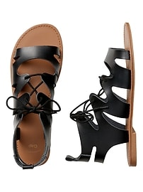 Gladiator Sandals in Faux Leather